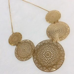 large multi round link Gold-tone collar Necklace